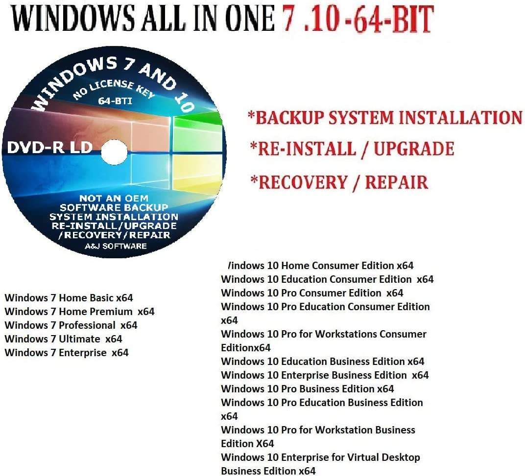 WINDOWS 7 10 ALL IN New Free shipping anywhere in the nation item ONE DVD UPDATED PRO SUITE ULTIMATE 64-BIT