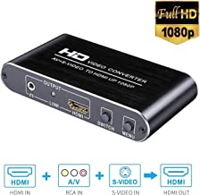 Yitrox S-Video/HDMI/RCA to HDMI Switcher Converter with 3.5 Jack CVBS AV to HDMI Video Audio Adapter Auto Scaler 1080P for Xbox/PS1/PS2/PS3/PS4 TV STB VHS VCR DVD etc