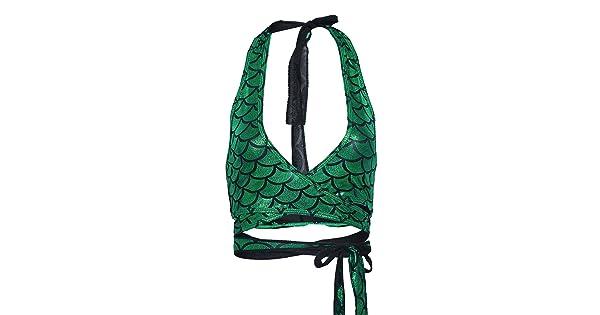 YiZYiF Womens Shiny Fish Scale Print Halter Strappy Savage Wrap Crop Top