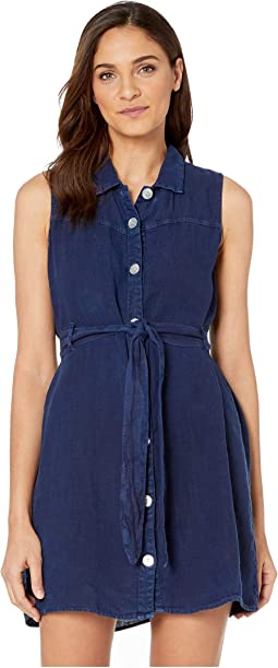Sleeveless Belted Linen Shirtdress