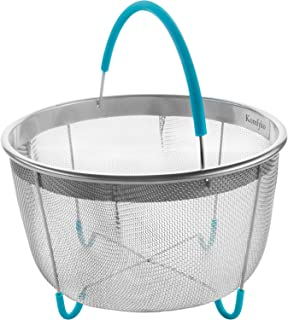 Komfyko Steamer Basket for Instant Pot 6qt [8qt Available] - Compatible with Instant Pot Accessories 6 Quart and Other Pressure Cooker Brands - Stainless Steel IP Insert with Silicone Handle and Feet