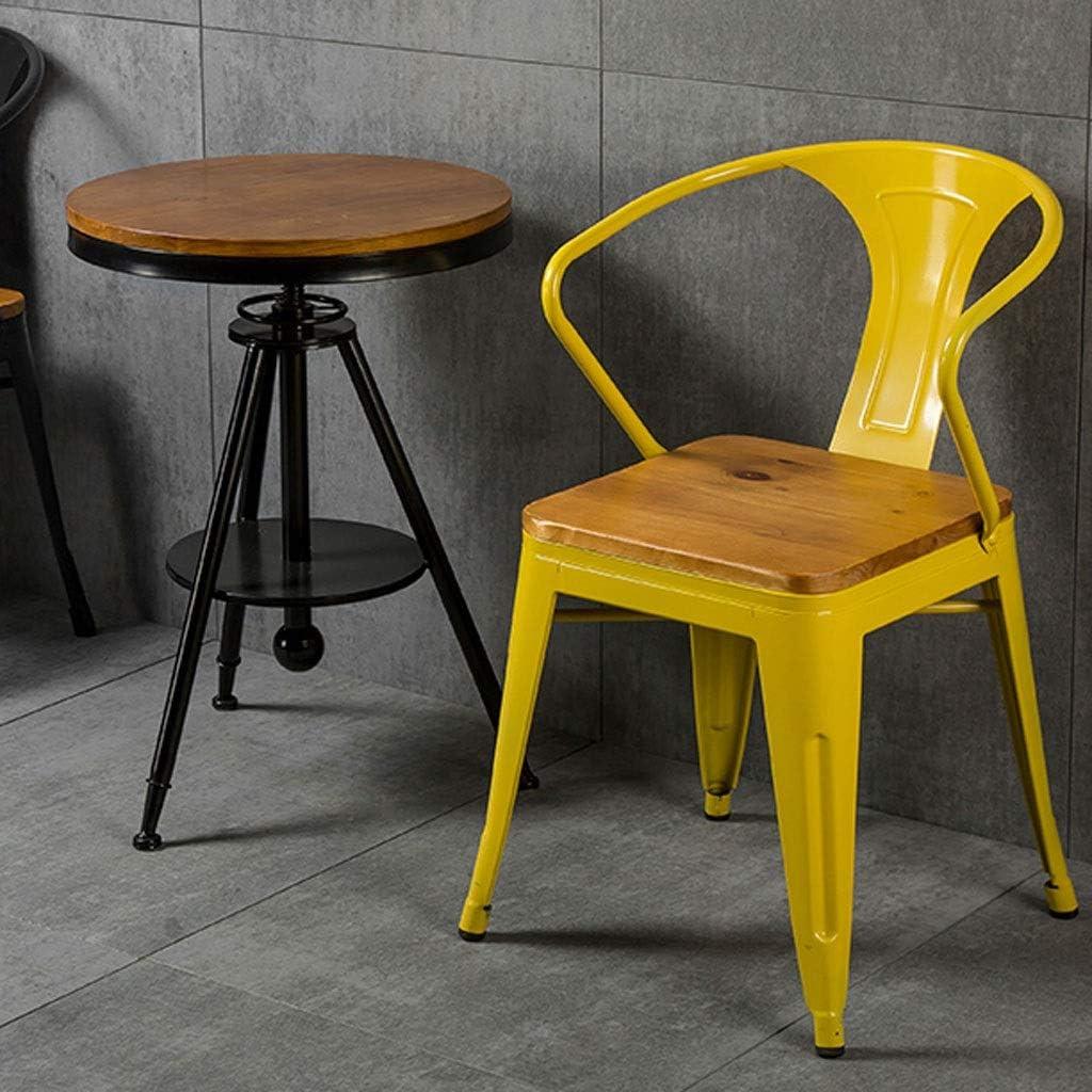 LOFT Industriel Vent Fer Forgé Chaise en Bois Massif Chaise Lounge Chair Cafe Restaurant Tabouret Dossier Table et Chaise Combinaison (Color : A Blue) A Blue