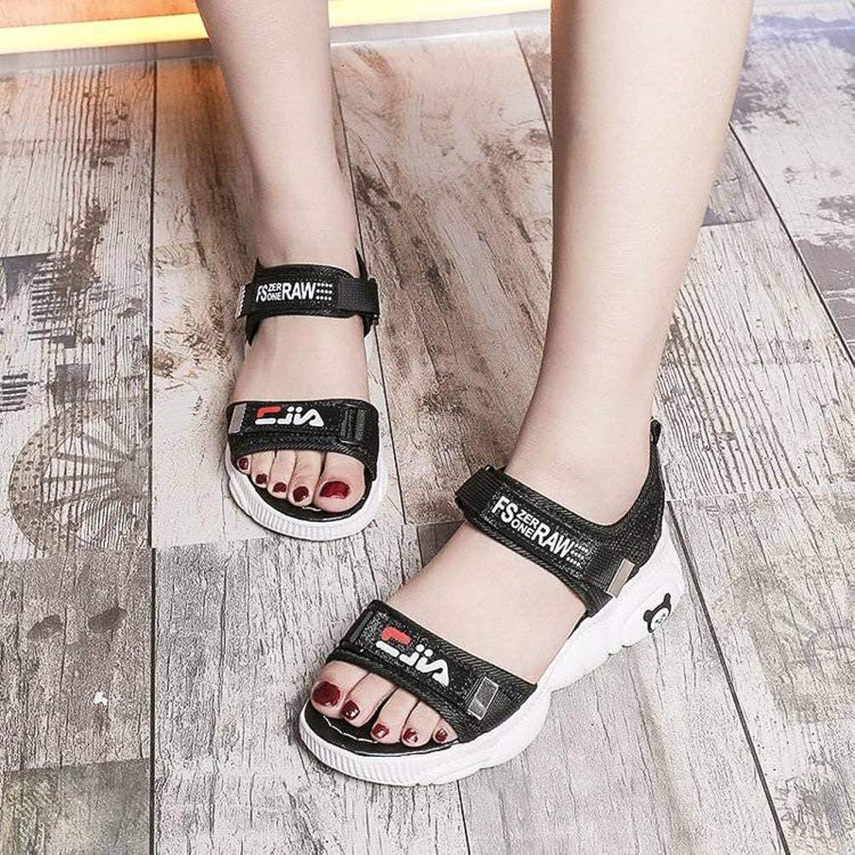 Women's Ladies Casual Lightweight Sandal shoes Slim Buckle Super High Heel Summer Beach Open Toe SquareHeel Rubber Sole Suede Upper Sandal Flip Flops for Women, LX