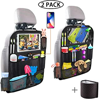 Backseat Car Organizer with 4 USB Charging Port, 11'' Touch Screen Tablet Holder, Seat Back Protectors Kick Mats for Toy Bottle Book Drink, Universal Fit Travel Accessories for Kid & Toddlers (2 Pack)