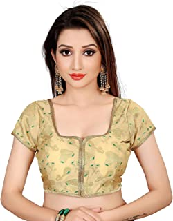 Ocean Fashion women's Brocade And Georgette Round Neck Gold Readymade Saree Blouses