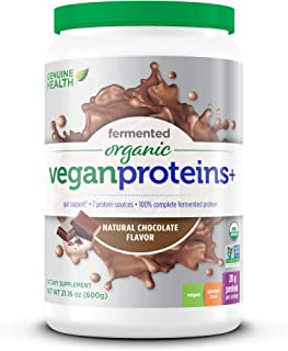 Genuine Health Fermented Organic Vegan Proteins+, Natural Chocolate Protein Powder, 20g Protein, 21.16 oz tub, 20 Servings