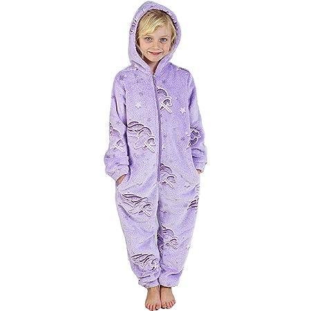 CityComfort Glow in The Dark Onesie Kids Onesies for Girls Rainbow Unicorn Pyjamas 3-14 Years Old