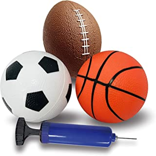 Kids Sports Basketball balls Toys Set, Football, Soccer, Basketball and Air pump, Great for Indoor & Outdoor Play Great fo...
