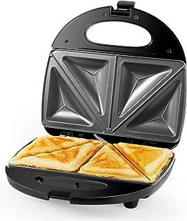 Gotoll Appareil à Sandwich Toaster Croques Monsieur Sandwich Maker 2 Tranches Machine Grill 700W Plaque Antiadhésive - Noir