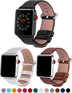 Fullmosa Compatible Apple Watch Band 38mm 40mm 42mm 44mm Calf Leather Compatible iWatch Band Compatible Apple Watch 5 4 3 2 1,Black+Brown+White 38mm 40mm
