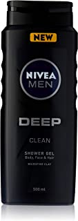 NIVEA MEN DEEP Clean Shower Gel (500ml), Men's 3 in 1 Body Wash formulated with Microfine Clay for cleansed and refreshed ...