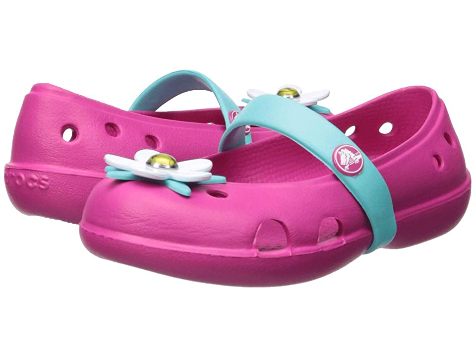 Crocs Kids Keeley Charm Flat (Toddler/Little Kid) (Candy Pink) Girls Shoes