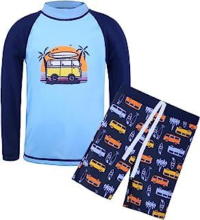 TFJH E Boys Long Sleeve Swimsuits 2pcs Rashguard Sunsuits UV 50+ Swim Set Blue Car 10A