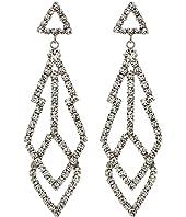 """3"""" Silver with Diamond Top with Fancy Shape Crystal Drop Pierced Earrings"""