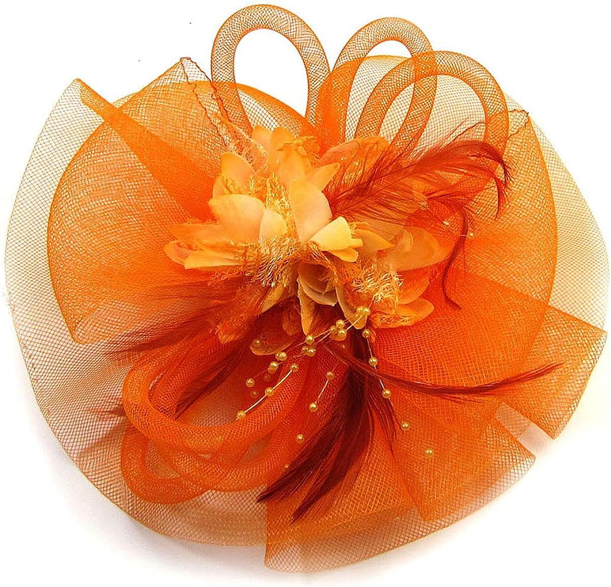 Lady/Women Flower Beads Feather Fascinator Veil Hat Hair Clip Brooch Hair Accessories