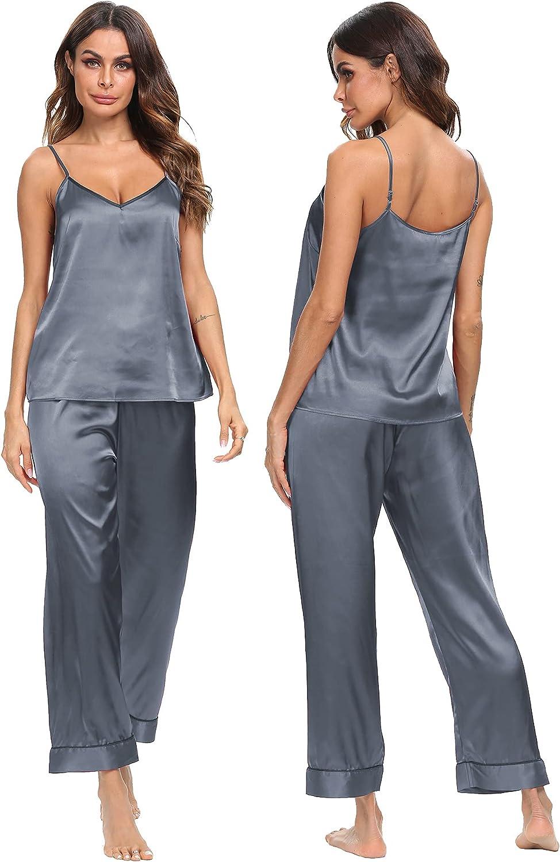 SWOMOG Women's Satin Pajama Set Silk Sleepwear Cami Nightwear Sexy Lingerie 2 Piece Top and Pants Pj Set