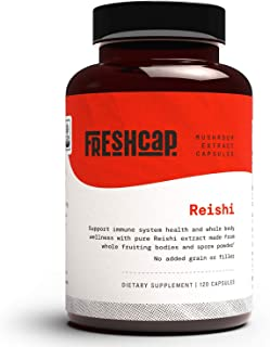 FreshCap Organic Reishi Mushroom Supplement for Healthy Aging, Sleep, and Immunity   120 Capsules, 60 Day Supply   Concent...