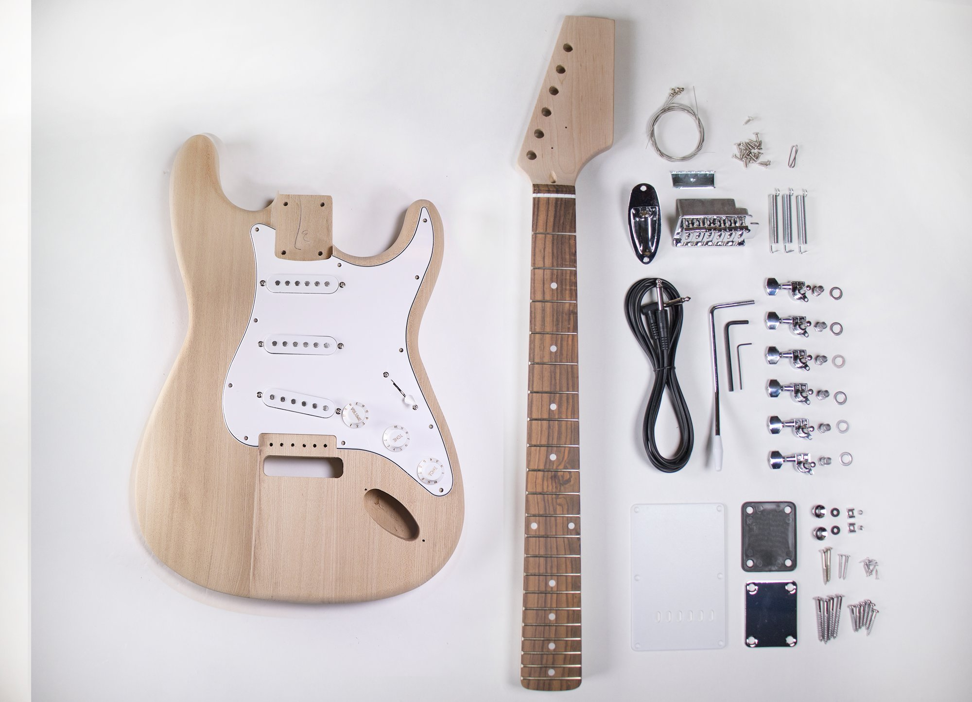 Cheap DIY Electric Guitar Kit - Ash ST Style Build Your Own Guitar Black Friday & Cyber Monday 2019