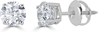 Amazon Collection 14K Gold Round-Cut Diamond Stud Earring (1/4 - 2 cttw, J-K Color, I2-I3 Clarity)
