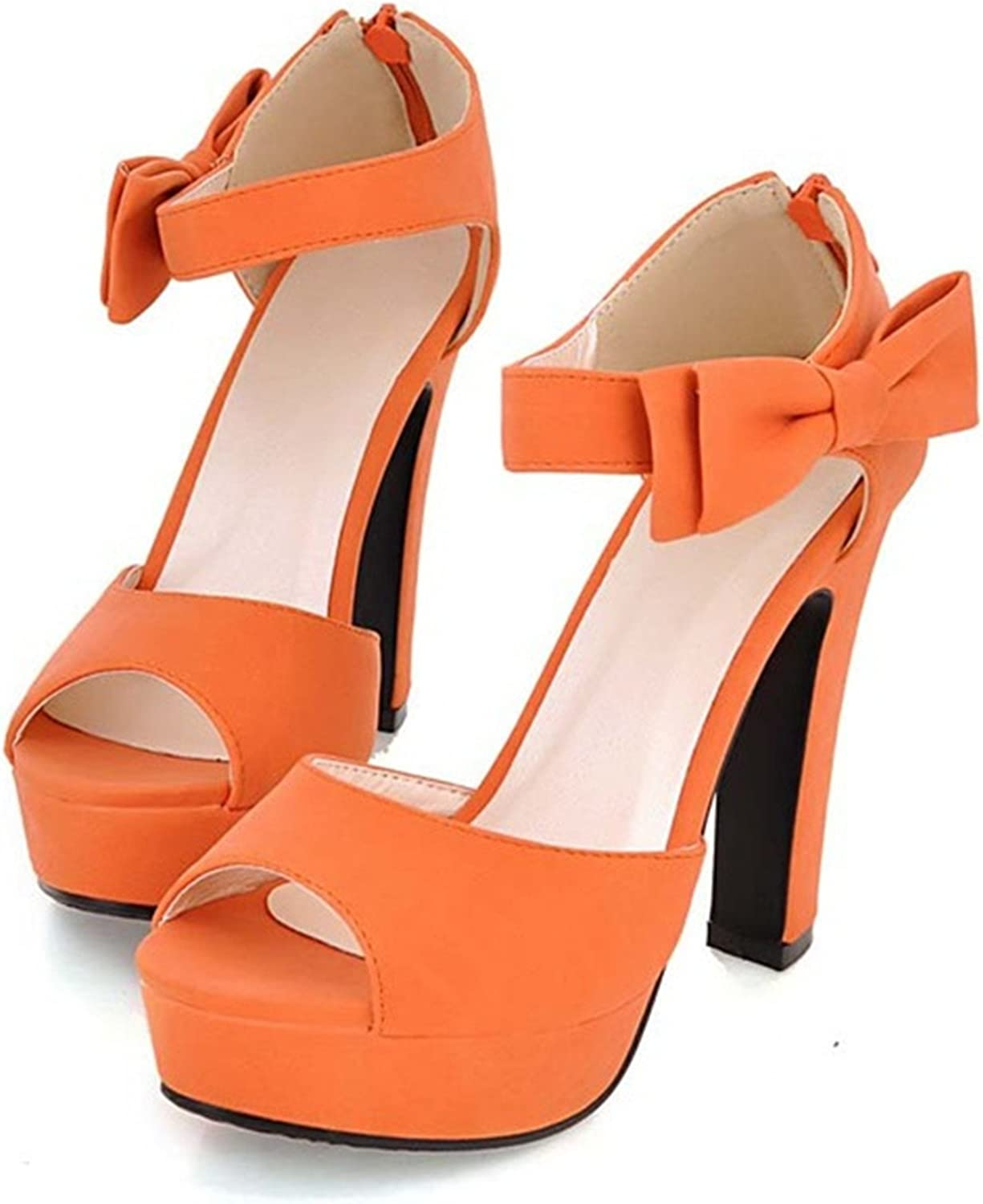 Ladiamonddiva Sandals Pumps Black Hot New Summer Peep Toe Ankle Strap Sweet High Heel Sandals Platform shoes Woman Bowties Charms Sandals Pumps orange 10.5
