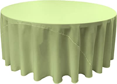 Amazon Com La Linen Polyester Poplin Round Tablecloth 132 Inch Sage Home Kitchen