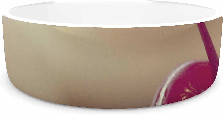 KESS InHouse Kristi Jackson Cherry on Top  Red White Pet Bowl, 7