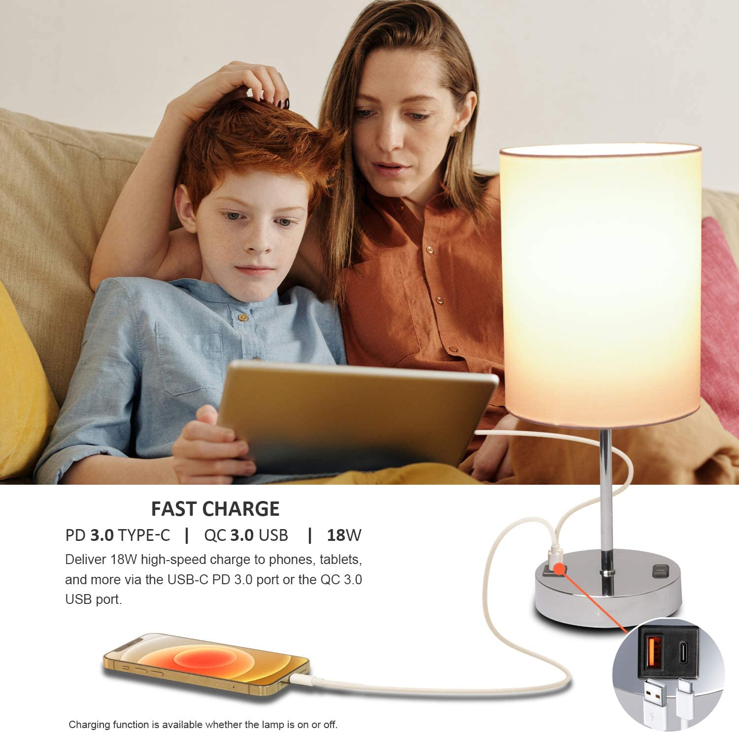 Touch Control Beside Table Lamp with USB Type-C Charging Ports 3-Way Dimmable Nightstand Lamp with Power Outlet /& Warm White Bulb Simple Desk Lamp for Living Room Bedroom