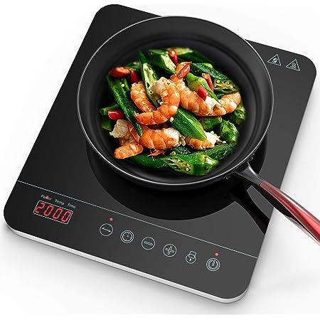 Aobosi plaque à induction, vitrocéramique avec plaque à affichage à LED à affichage numérique, plaque de cuisson à induction, bouton de commande tactile, minuterie 2000Watt