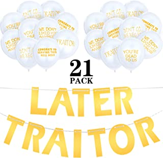 21 Pieces Last Day Office Party Supplies Later Traitor Banner Coworker Going Away Balloons for Going Away Farewell Retirement Job Change Relocation Quitting Party Decoration