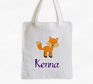 98849760e010 Fox Kids Tote Bag - Personalized Forest Animal Cotton Overnight Bag for  Girls or Boys (