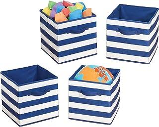 mDesign rangement jouet (lot de 4) – boîte de rangement tissu carrée pour la chambre d'enfant ou la chambre à coucher – pa...
