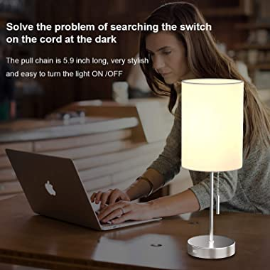 DEEPLITE Small Table Lamp, Bedside Lamp with USB Port, Simple Designed Modern Lamps for Bedrooms Living Room Office Nightstan