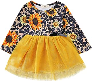 Xifamniy Infant Girls Long Sleeve Dresses Leopard and Sunflower Print Baby Tulle Dress