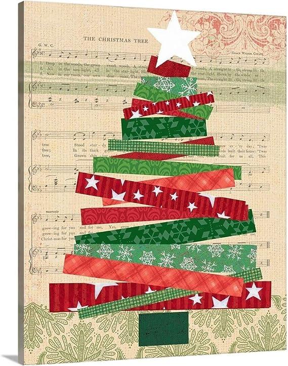 Greatbigcanvas Cut Paper Christmas Tree Canvas Wall Art Print Christmas Home Decor Artwork 11 X14 X1 5 Posters Prints Amazon Com