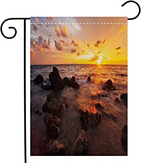 Custom Double Sided Seasonal Garden Flag Coastal Decor Sunrise on the Beach Colorful Clouds Stones Exotic Journey Tranquil Welcome House Flag for Patio Lawn Outdoor Home Decor, Linen 12 x 18 inch
