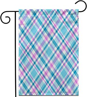 """Awowee 12""""x18"""" Garden Flag Diagonal Seamless Tartan Plaid Pattern in Pink White Cyan Green Outdoor Home Decor Double Sided Yard Flags Banner for Patio Lawn"""