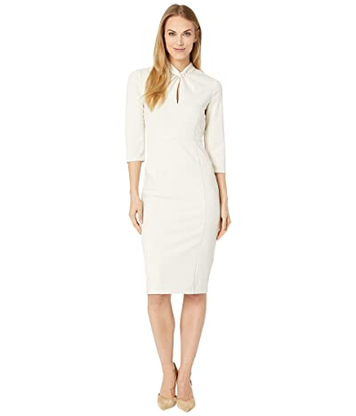 Donna Morgan Long Sleeve Crepe Sheath with Twisted Neckline (Horn) Women