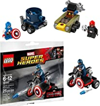 Lego Captain America VS Red Skull & Lego Super Heroes: Civil War Captain America Motorcycle Mini Figure Marvel 3044 Marvel Mighty Micros (76065)