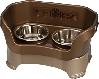 Neater Feeder Deluxe Medium Dog (Bronze) - The Mess Proof Elevated Bowls No Slip Non Tip Double Diner Stainless Steel Food...