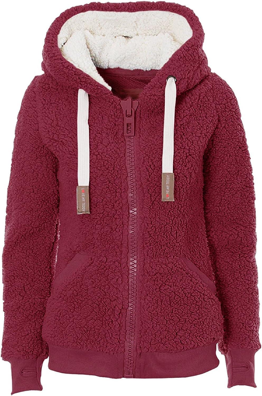 23TOO Women's Shaggy Long Sleeve Soft Teddy Fleece Hooded Jumper Faux Fur Coat Jacket Outwear