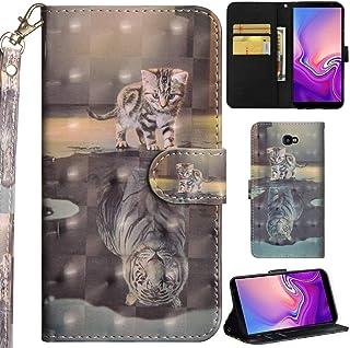 Ooboom Samsung Galaxy J4+ Plus Hülle 3D Flip PU Leder Schutzhülle Handy Tasche Case Cover Ständer mit Kartenfach Trageschlaufe für Samsung Galaxy J4+ Plus   Katze Tiger