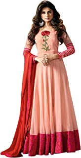 Mert India Women's Georgette Embroidered Semi-Stitched Long Salwar Suit with Dupatta (2214; Peach)