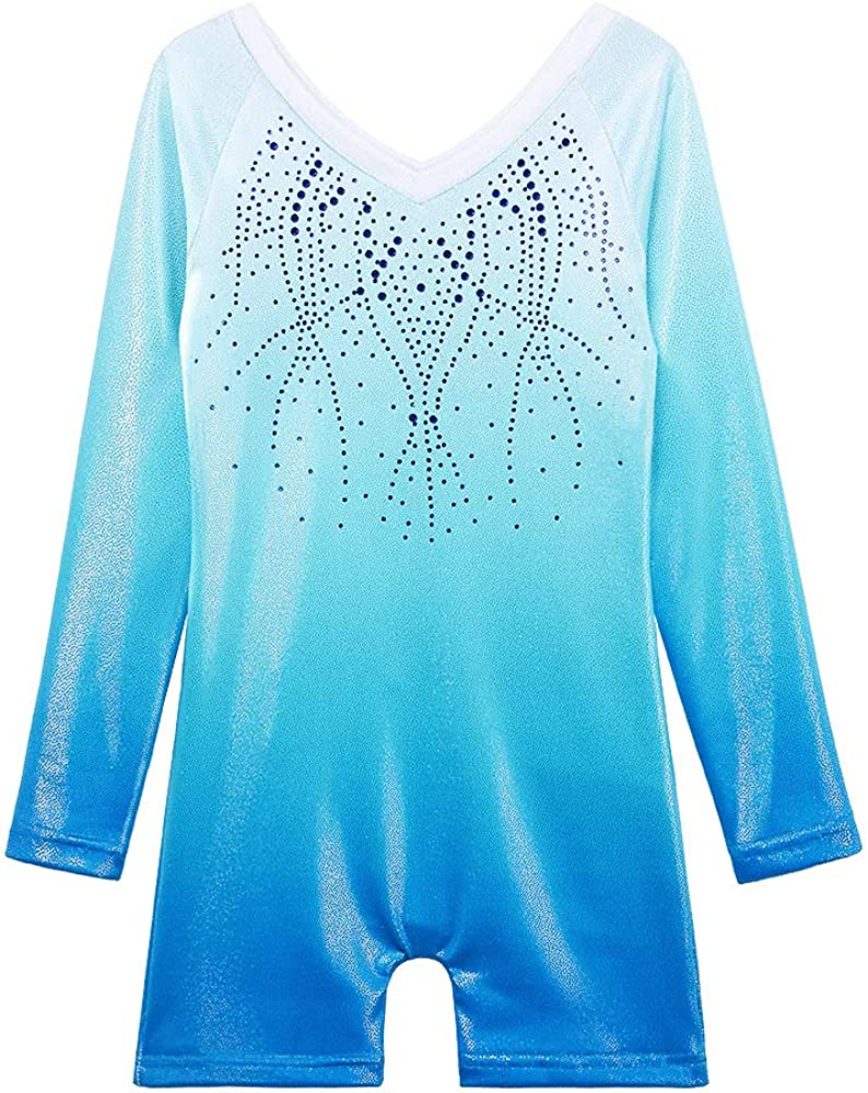 BAOHULU Leotard for Girls Gymnastics Tan Quantity limited Stripes Max 90% OFF Sparkle Toddler