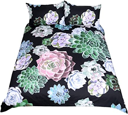 WarmGo King Size Duvet Cover Set with Zipper Closure 3 Pieces (1 Duvet Cover + 2 Pillowcases) 3D Oil Succulent Plants Printing Design Bedding Set Microfiber Polyester - Without Comforter