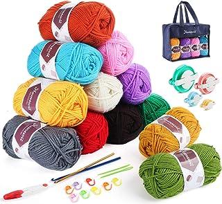 Pelotes de Laine en Acrylique, 12 couleurs * 50g Kit de Fil Acrylique avec 4 Tailles Pompom Maker et 2 Crochets et Sac de ...
