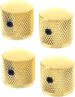 Musiclily Metric Metal Dome Guitar Control Knobs with Allen Keys Screws Set for Electric Guitar or Bass, Gold(Pack of 4)