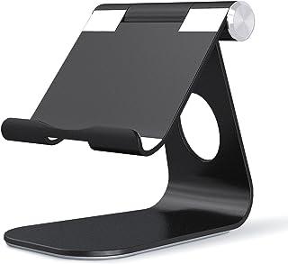 OMOTON Adjustable Tablet Stand iPad Stand Compatible with iPad 10.2 2019, New iPad Pro 11/12.9 inch 2020, iPad 9.7 2018, iPad Mini, iPad Air, Nintendo Switch, and All Cellphones Smart Phones, Black