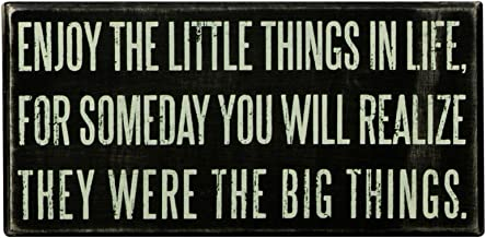 Primitives by Kathy Enjoy The Little Things Wooden Box Sign, 8 x 4-Inches, Black and White