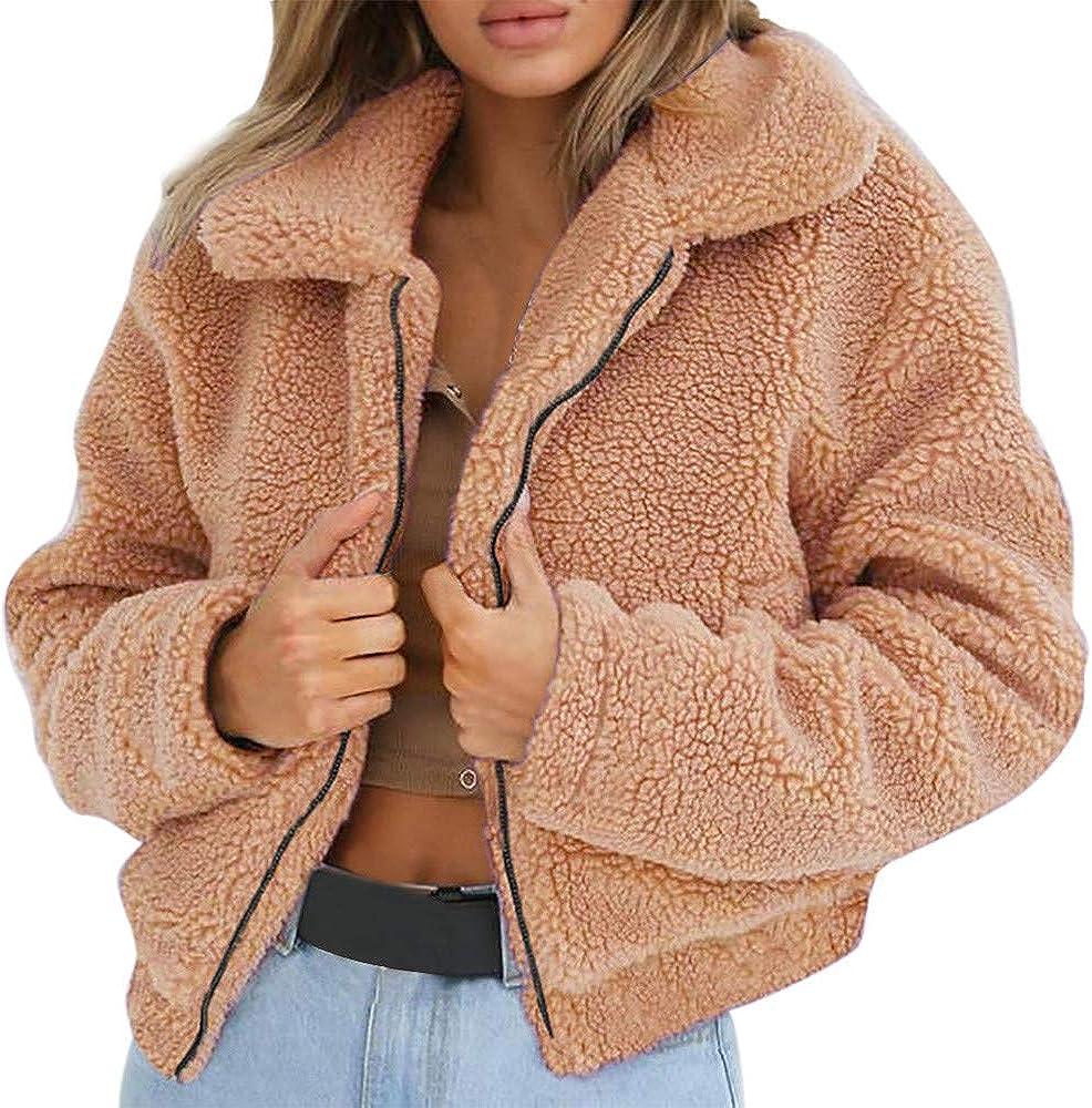 Hoyod Women Casual Lapel Fleece Fuzzy Faux Shearling Shaggy Zip up Warm Winter Outwear Coats Jackets