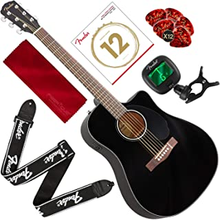 Fender CD-60SCE Acoustic-Electric Guitar, Dreadnought Body Style, Black Finish with Tuner, Strap, Strings, Picks, and Accessory Bundle